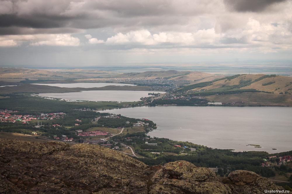 Вид с хребта Яманкая на озёра Карабалыкты, Сабакты и Банное