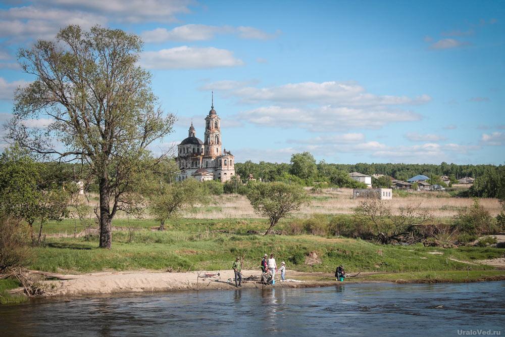 Рыбаки на реке Теча в селе Першинском