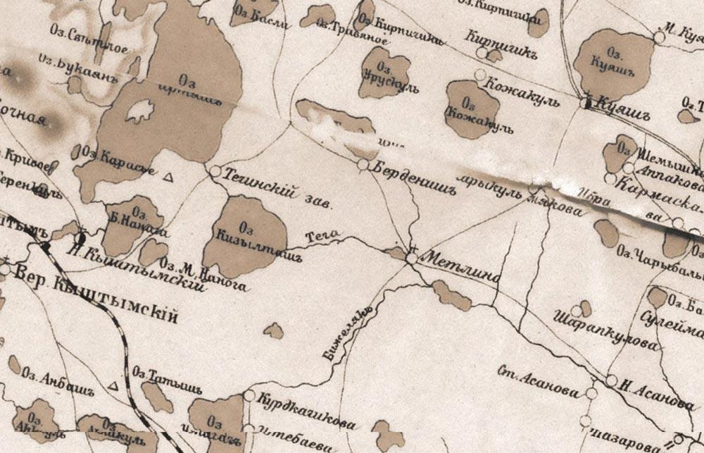 Фрагмент карты 1908 года с обозначением Теченского завода