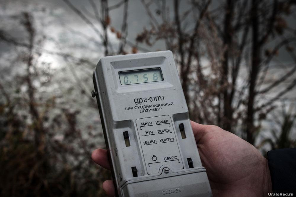 Уровень радиации на берегу реки Течи в Муслюмово