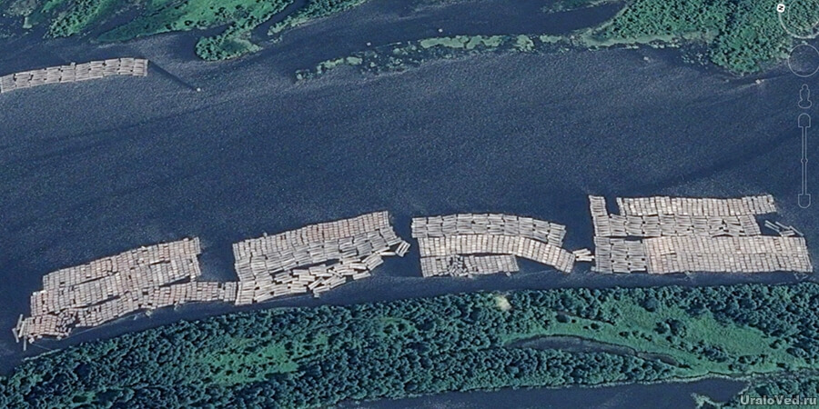 Плоты древесины близ Соликамска на реке Каме